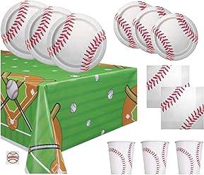 dc77d831f Baseball Theme Party Supplies Set - Plates, Cups, Napkins, Tablecloth  Decoration (Serves