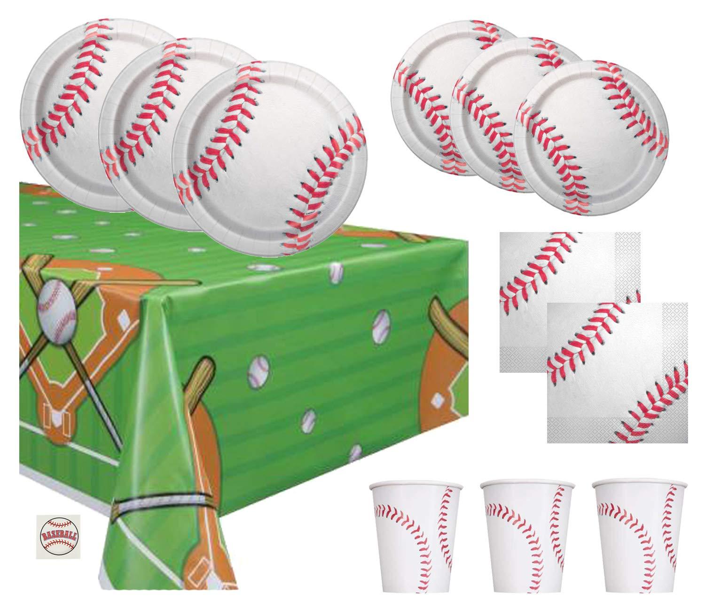 Baseball Theme Party Supplies Set - Plates, Cups, Napkins, Tablecloth Decoration (Serves 16)