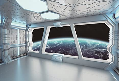 AOFOTO 10x7ft Spaceship Interior With Window View On Planet Earth Backdrop  Universe Exploration Science Fiction Spacecraft