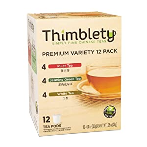 Classic Variety Tea-Thimblety Tea for K Cup Tea with Jasmine Green Tea, White Tea&Pu' er Black Tea,Ideal for Relax&Party,Single Service Tea Capsule, Suger-Free, Carb-Free, Variety Sampler Pack,12 Pods