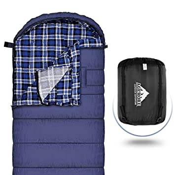 Enveloppe Sac de couchage XL -15 C/0 F pour le camping, Flanelle de coton Sacs de couchage avec Linergreat pour temps froid Camping, prêt à mains Font Plus ...