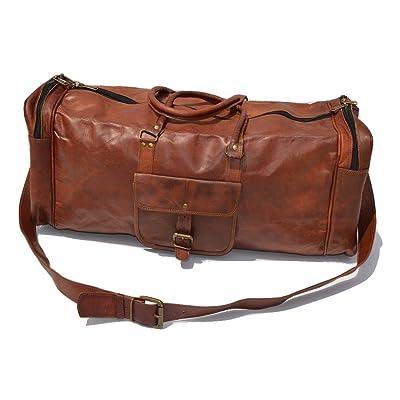 "25"" Men's Genuine Leather Vintage Duffle Gym Large Travel Weekend Luggage Bag"