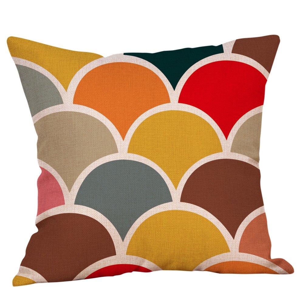 KEERADS Housse de Coussin Moutarde Taie d'oreiller Coloré Géométrique L'automne Hiver Coton Lin Décoratif pour la Maison KEERADS_Home decoration