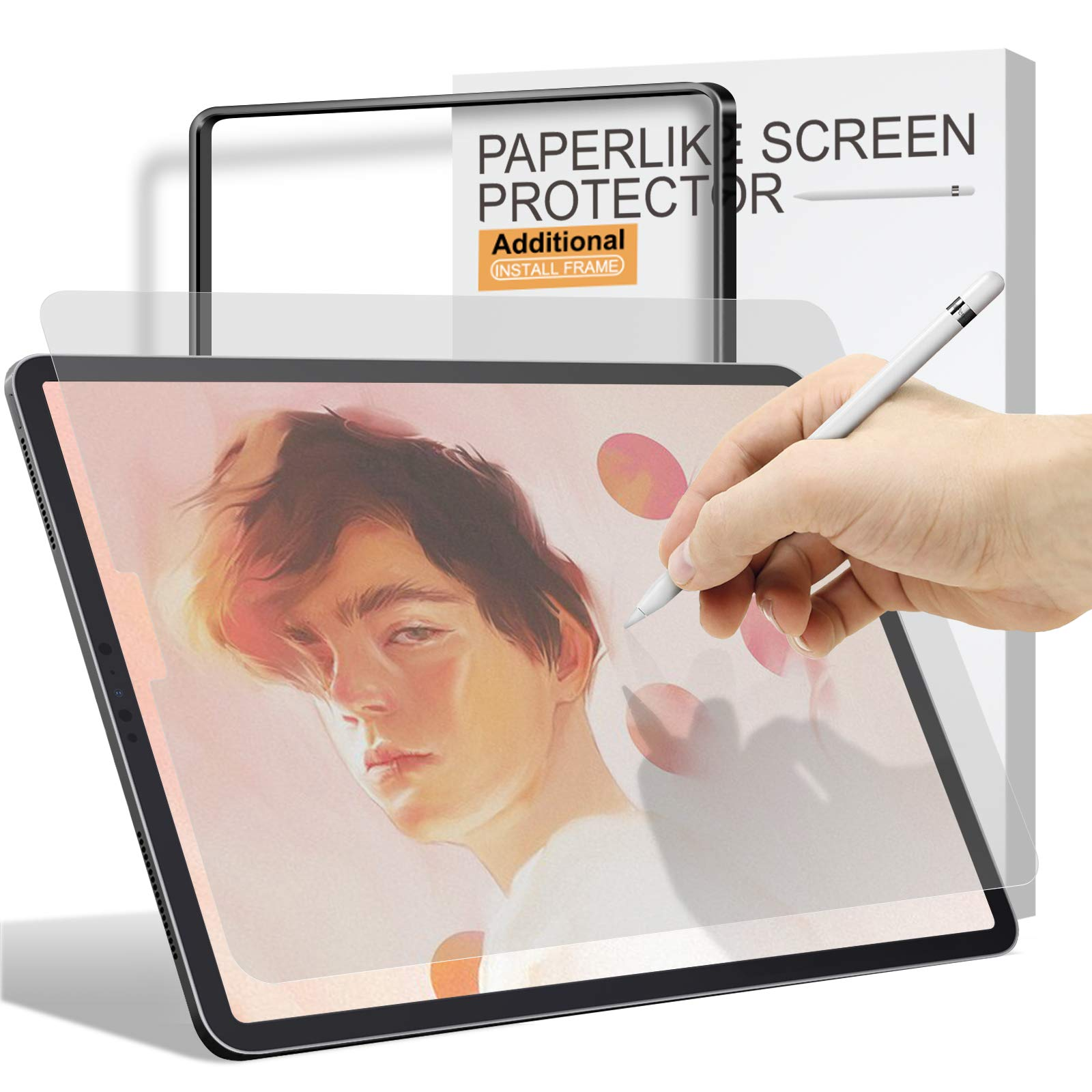 Paperfeel Screen Protector for iPad Air 4 2020 / iPad Pro 11 2020 & 2018, [Install Frame] Ambison High Touch Sensitivity Paperfeel iPad Pro 11/10.9 inch Matte Screen Protector, Apple Pencil Compatible