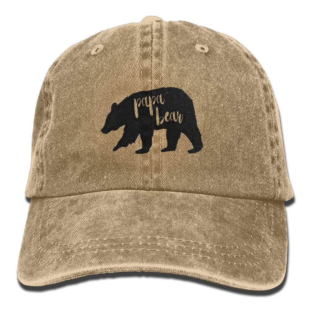 KWISISI Papa Bear Adult Embroidered Cowboy Hat Sports Hat