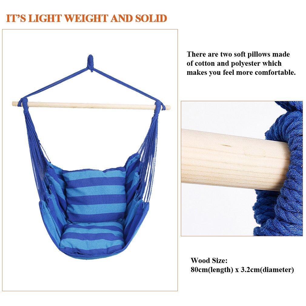 Carga de 120 kg Azul 2 x Almohadas de 40 x 40 cm Holifine Hamaca Silla Colgante para Interior Hamaca Jardin de Algod/ón y Poliester de 100 x 130 cm