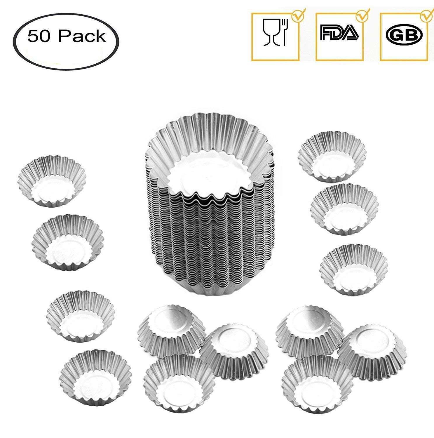 Egg Tart Mold Baking Cups Tins,50pcs Aluminum Mini Pie Pans Muffin Baking Cups Cupcake Cake Cookie Lined Mould Tin Baking Tool fashionclubs