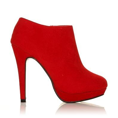 ShuWish UK H20 - Damen Schuhe Stiletto sehr hoher Absatz Stiefeletten - Rot Wildleder, Synthetik, 39