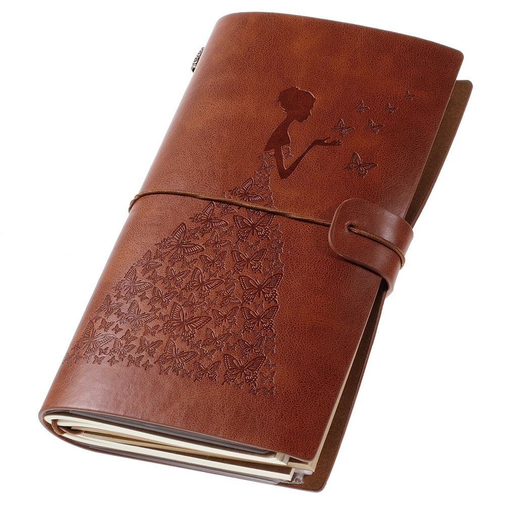 Leather Journal, Vintage Refillable Travelers Notebook with Line Paper+ 1 PVC Zipper Pocket +18 Card Holder for Women 4.7 X 7.9in (Brown) OMEYA.INC