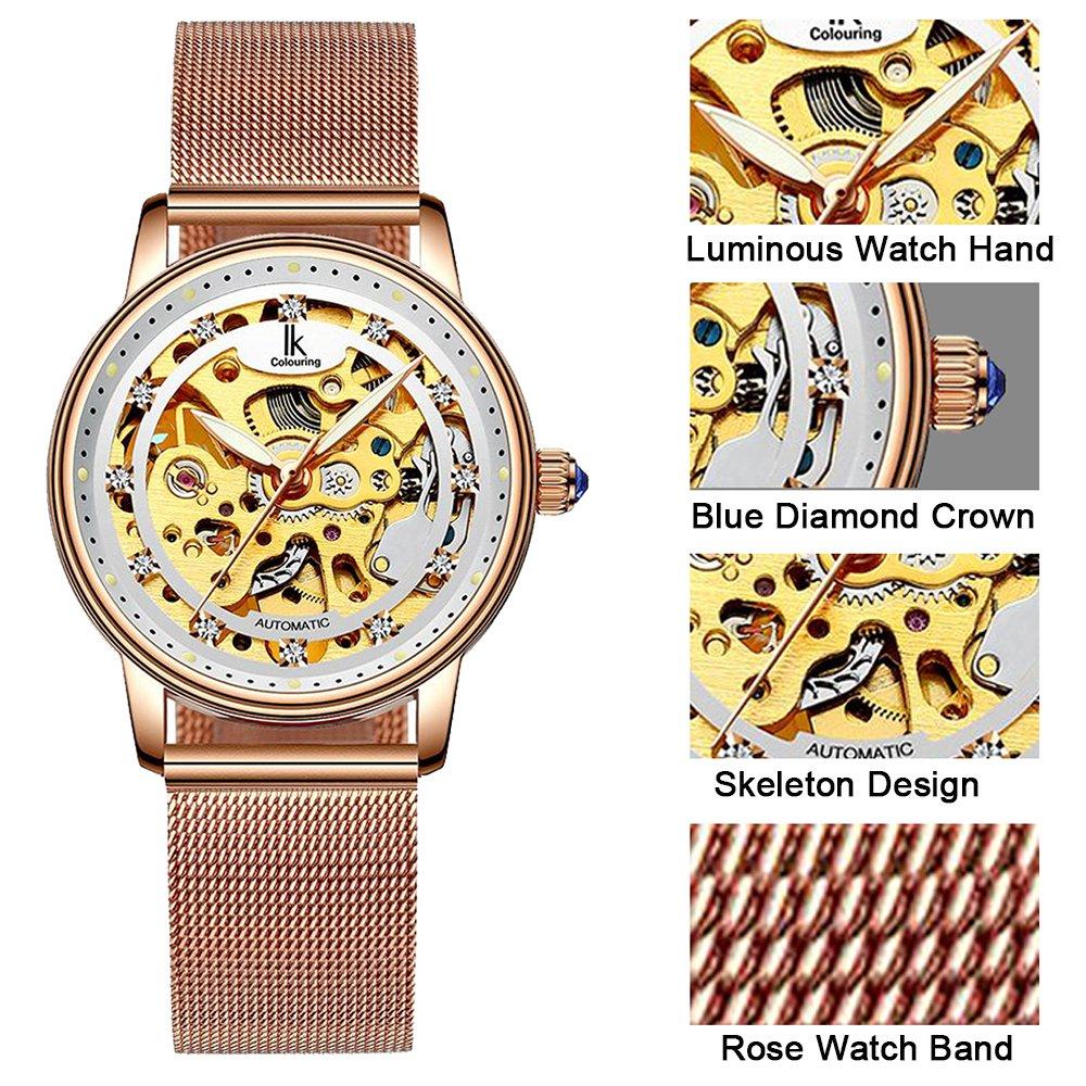 Womens Watch,Stone Automatic Dress Watch Luxury Skeleton Wrist Watch for Lady,Rose Gold Tone by Stone (Image #2)