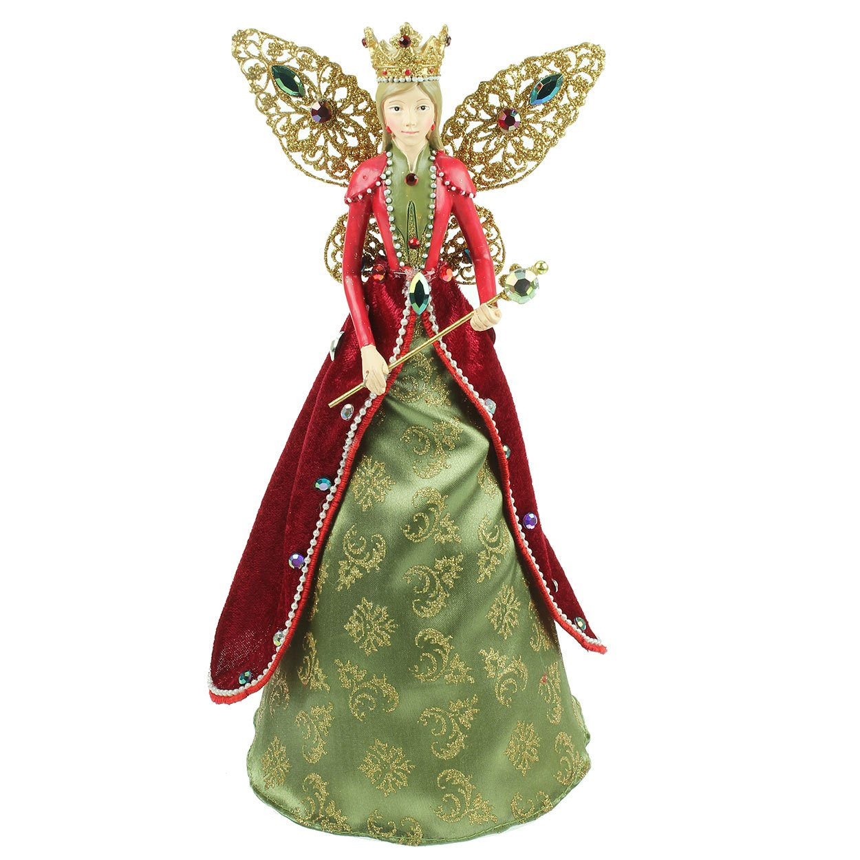 Large Royal Angel Christmas Tree Topper with Crown and Sceptre (28cm) Gisela Graham