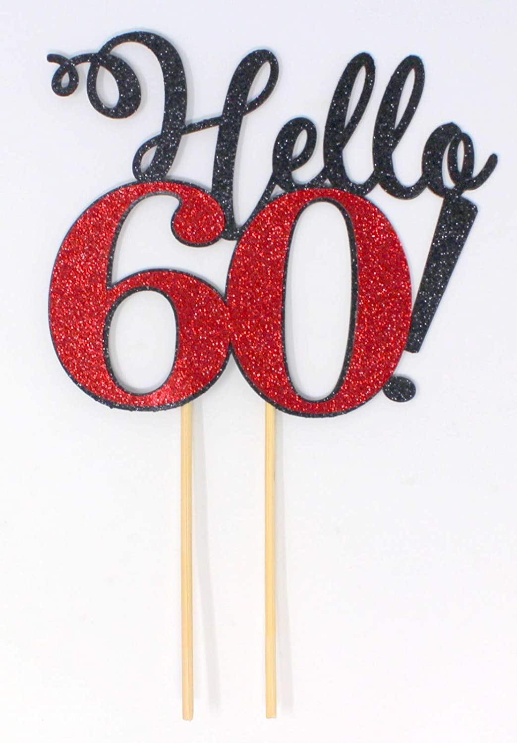All About Details Pink Hello 60 Cake Topper