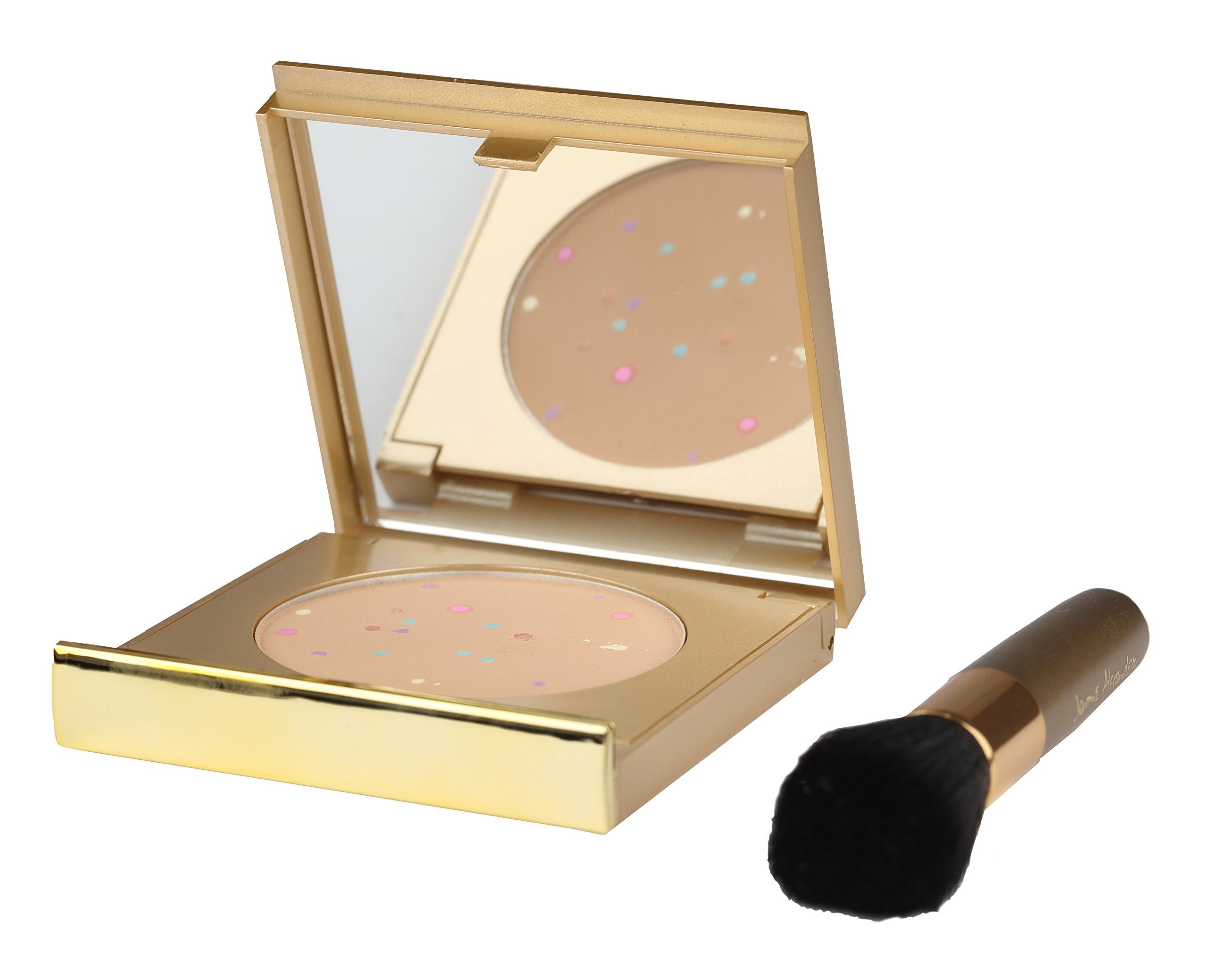 MagicMinerals Gold Edition by Jerome Alexander - Mineral Powder Compact with Mirror, Blending Sponge and Mini Stubby Brush - Foundation, Concealer and Corrector All-In-One - Light