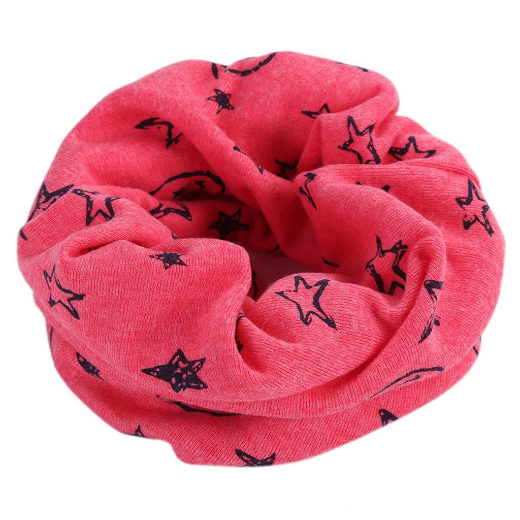 Lamdoo Bambini Cotton Infinity Loop Sciarpa Smile Face Star Print Anello Scaldacollo Solid -Dark Rosa
