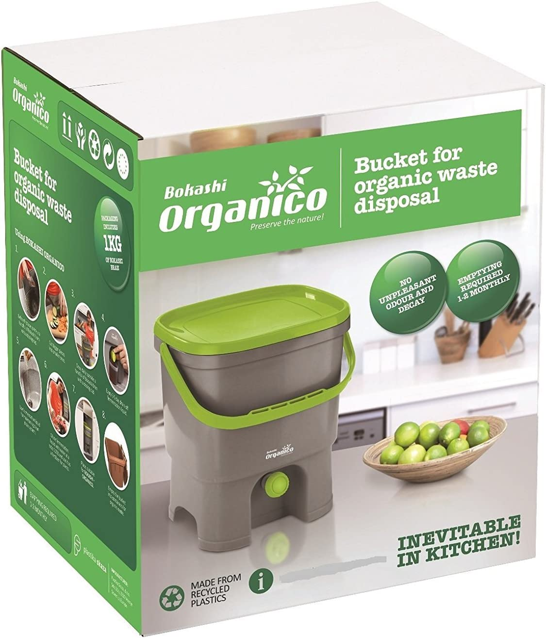 innovadora bio Cubo de basura para basura de cocina y Compost Bokashi Organico Juego