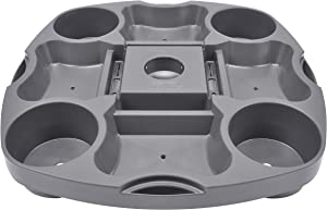 PayandPack UTD13 Umbrella Table Tray 15 Inches for Beach, Patio, Garden, Swimming Pool with 4 Drink Holder, 4 Snack Compartments, 4 Sunglasses Holes, 4 Phone Slots (Gray)