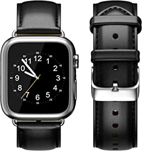Compatible with Apple Watch Band 44mm 42mm /40mm 38mm Genuine Leather Replacement Strap Stainless Steel Adapters for iWatch Series 5, Series 4, Series 3, Series 2, Series 1 (Black, 38mm/40mm)