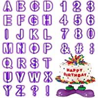Cortador Fondant HO2NEL 40 Piezas Letras Reposteria Silicona Moldes Reposteria Letras Numeros para Decorar Galletas de