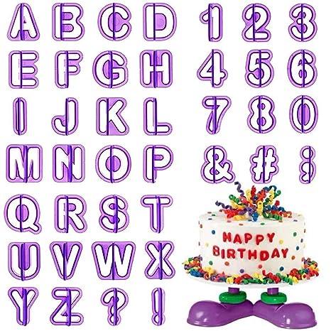 Cortador Fondant HO2NLE 40 Piezas Letras Reposteria Silicona Moldes Reposteria Letras Numeros para Decorar Galletas de