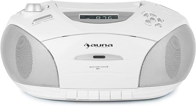 auna RCD 220 - CD-Radio, Minicadena, Radio de Cocina, CD/MP3, Cassette, Puerto USB Apto MP3, Sintonizador FM, Entrada AUX para conectar aparatos ...