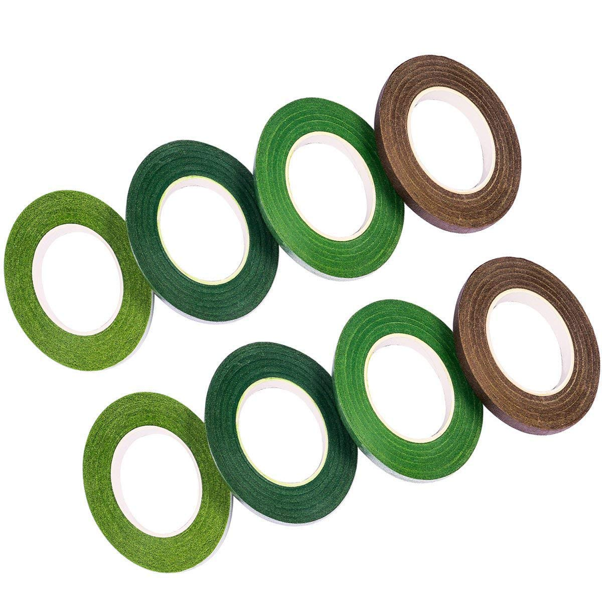 Floral Tapes Green and Brown Color 8 Pack, 240 Yards in Total, 1/2 x 30 Yards each, Stem Wrap Tape For Bouquet Stem Wrap Florist Stem Wrap 1/2 x 30 Yards each AiTrip