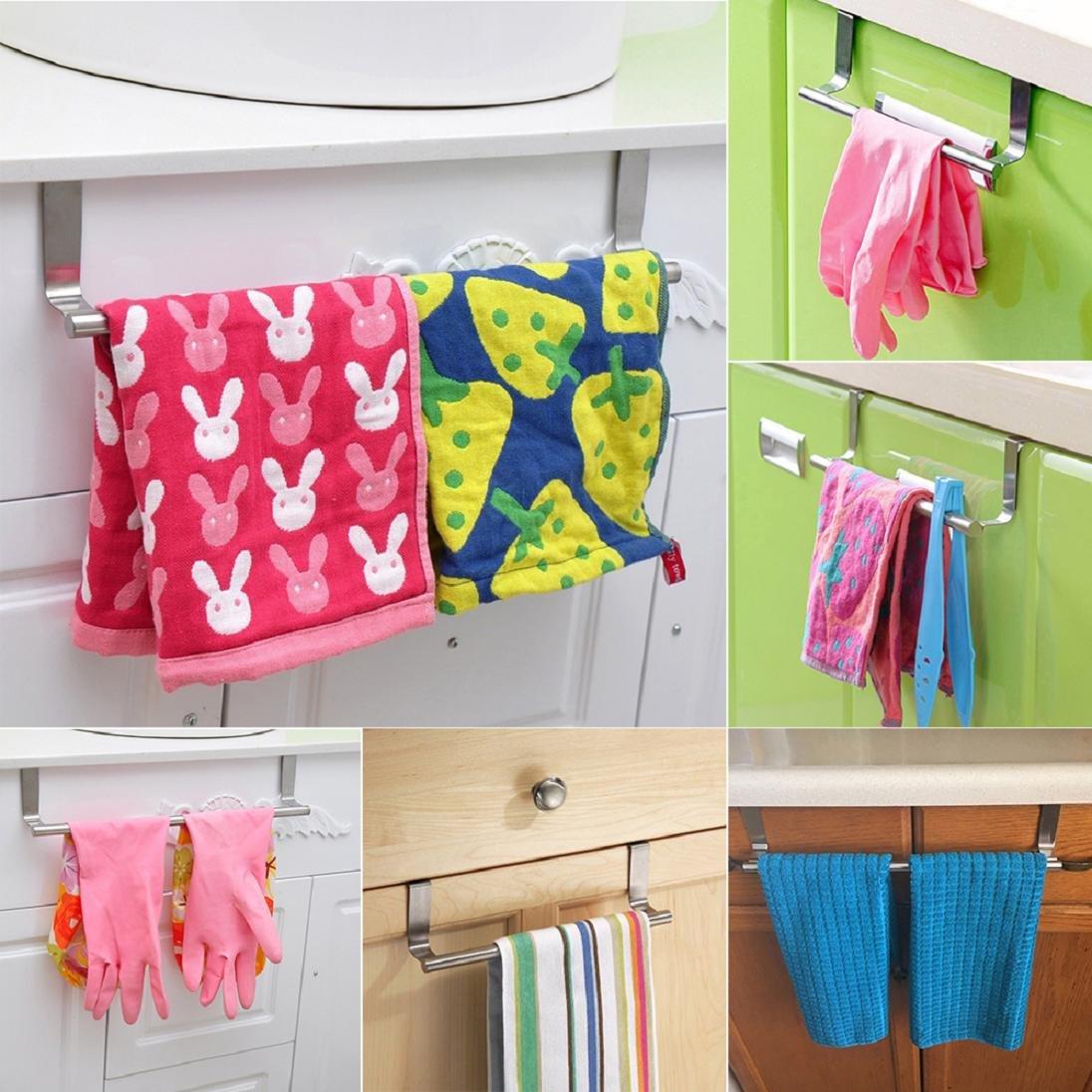 Toallero multifuncional para puerta armario para cocina barra para colgar toallas de ba/ño cocina toallero sin agujeros barra 23 cm plata ba/ño