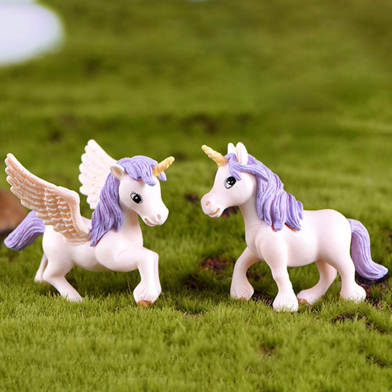 Izhiheng Zartes Einhorn Miniatur Deko Fliegendes Pferd Kunststoff Basteln Ornamente Wingless