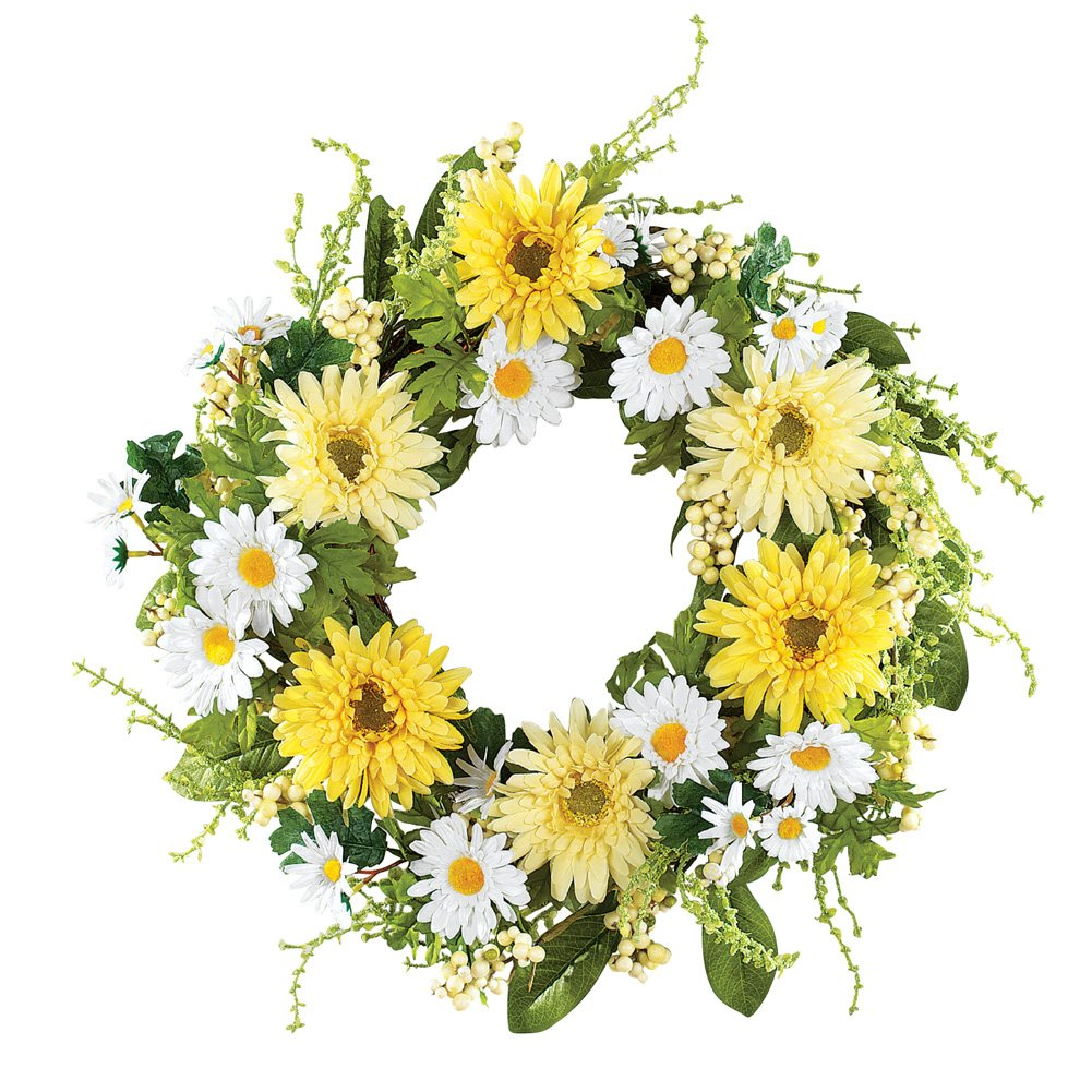 Collections Etc Yellow and White Daisy Wreath, Green