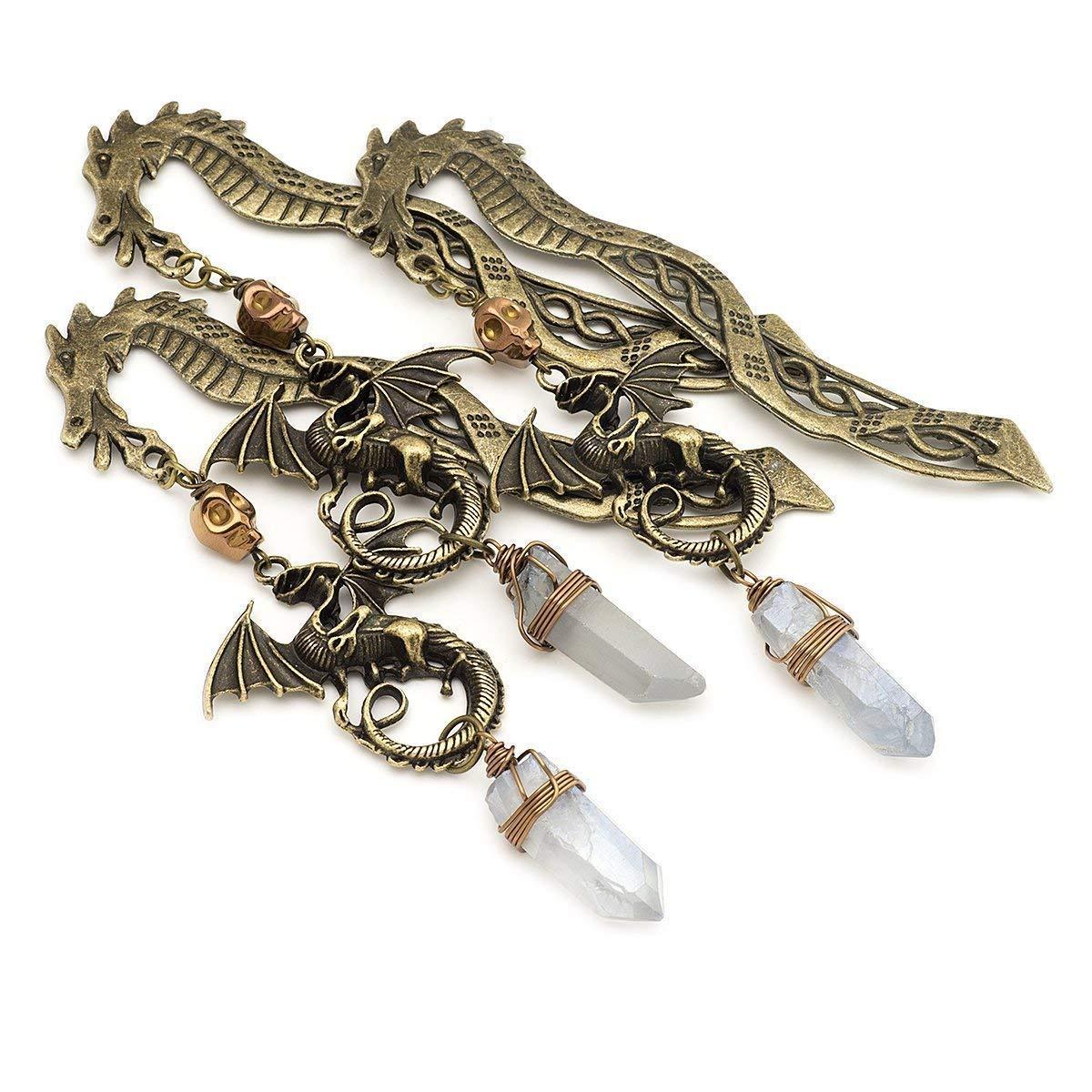 Storm Quartz Crystal Gemstone Point Dragon Bronze Metal Unique Bookmark 4.5 Inches
