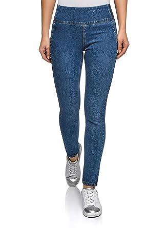 f9eaddf37e7c oodji Collection Femme Jegging Taille Haute avec Ceinture Élastiquée, Bleu,  26W   32L (