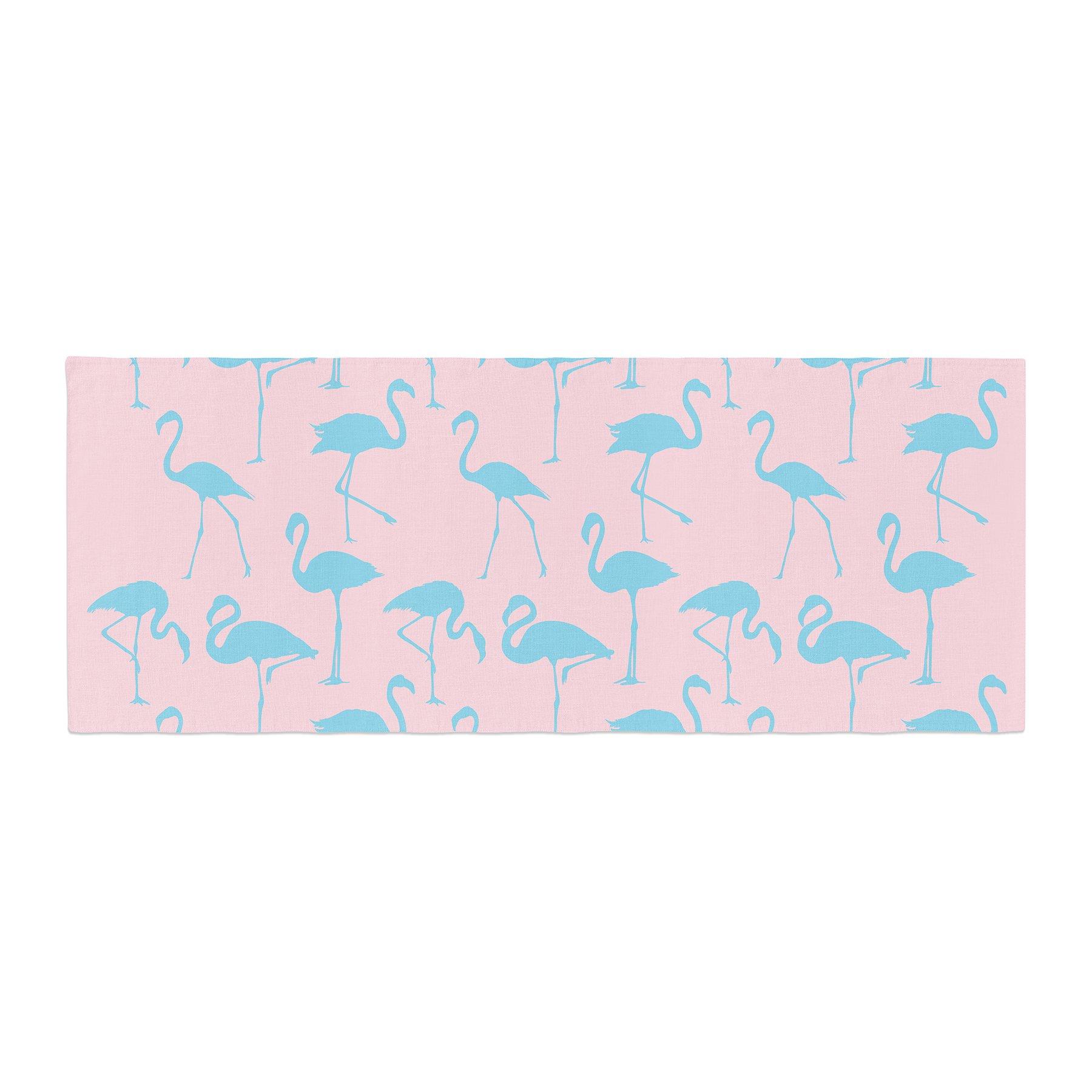Kess InHouse Kess Original Blue On Pink Blue Animals Bed Runner, 34'' x 86''