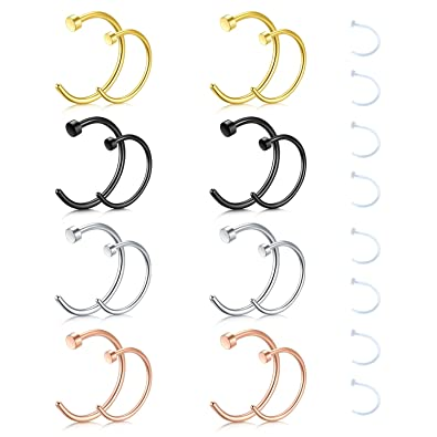 Zolure 18G 20G Nose Rings Hoop Nose Rings Studs Surgical Steel Fake Faux Nose Ring Rose Gold Silver Nose Piercing Jewelry