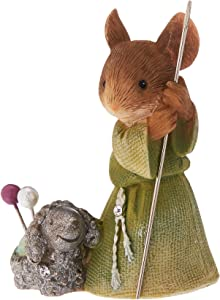 "Enesco Department 56 Heart of Christmas ""Shepherd Mouse with Lamb"" Stone Resin Figurine, 1.97"""