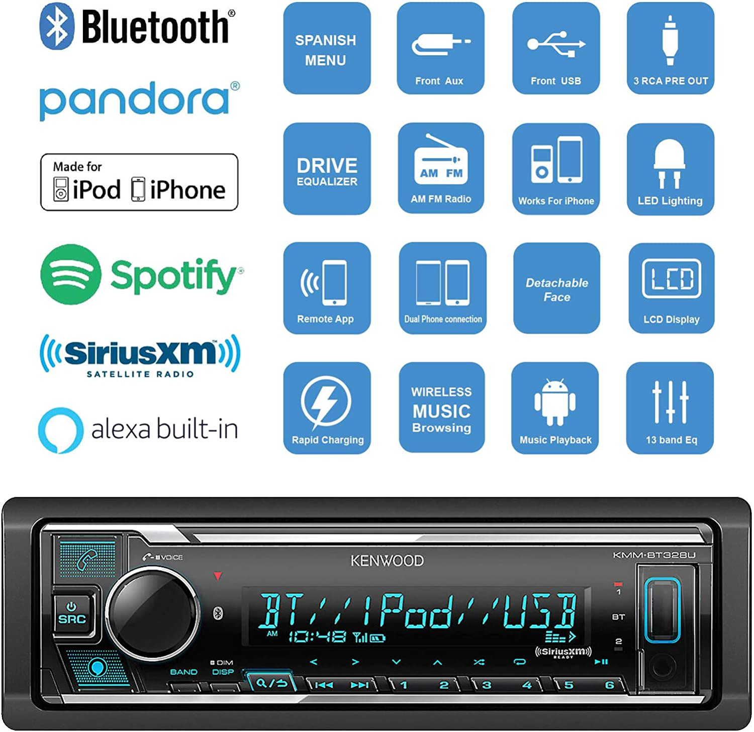 Enrock 50 Ft Speaker Wire Kenwood Single DIN Bluetooth in-Dash AM//FM Car Stereo USB AUX Receiver Bundle Combo with 4X Kenwood D-Series 6x8 Custom Fit 360W Car Audio Coaxial Speakers
