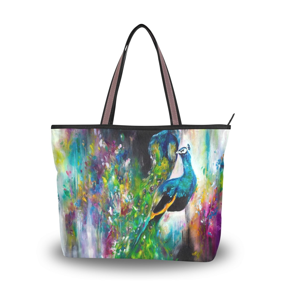 Women Large Tote Top Handle Shoulder Bags Peacock Feather Ladies Handbag L by JSTEL (Image #6)