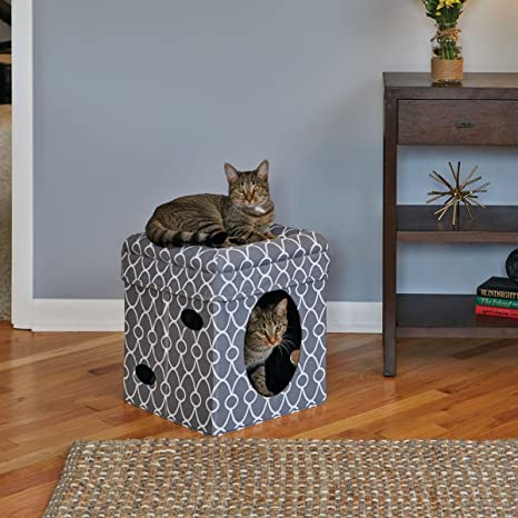 RHRQuality Curious Gato Cube Gris Manta Cueva katzenspielzeug para Gatos 38,4 X 38,4 X ...