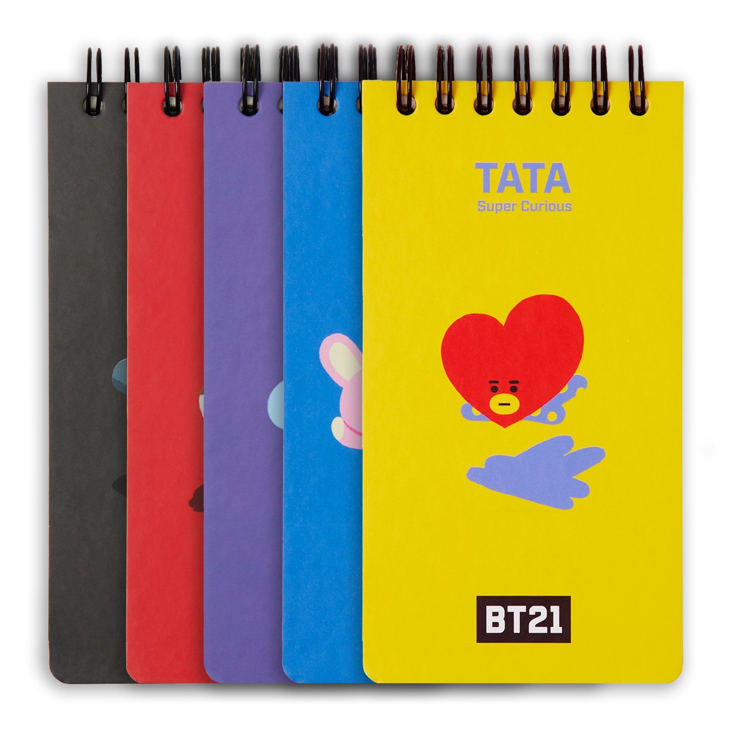 BT21 Official Merchandise by Line Friends - 5 Pack Character Small Spiral Notebook with 80 Sheets Each