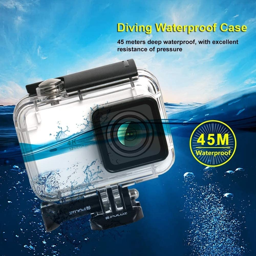 CAOMING 45m Underwater Waterproof Housing Diving Case for Xiaomi Xiaoyi II 4K Action Camera with Buckle Basic Mount /& Screw Durable