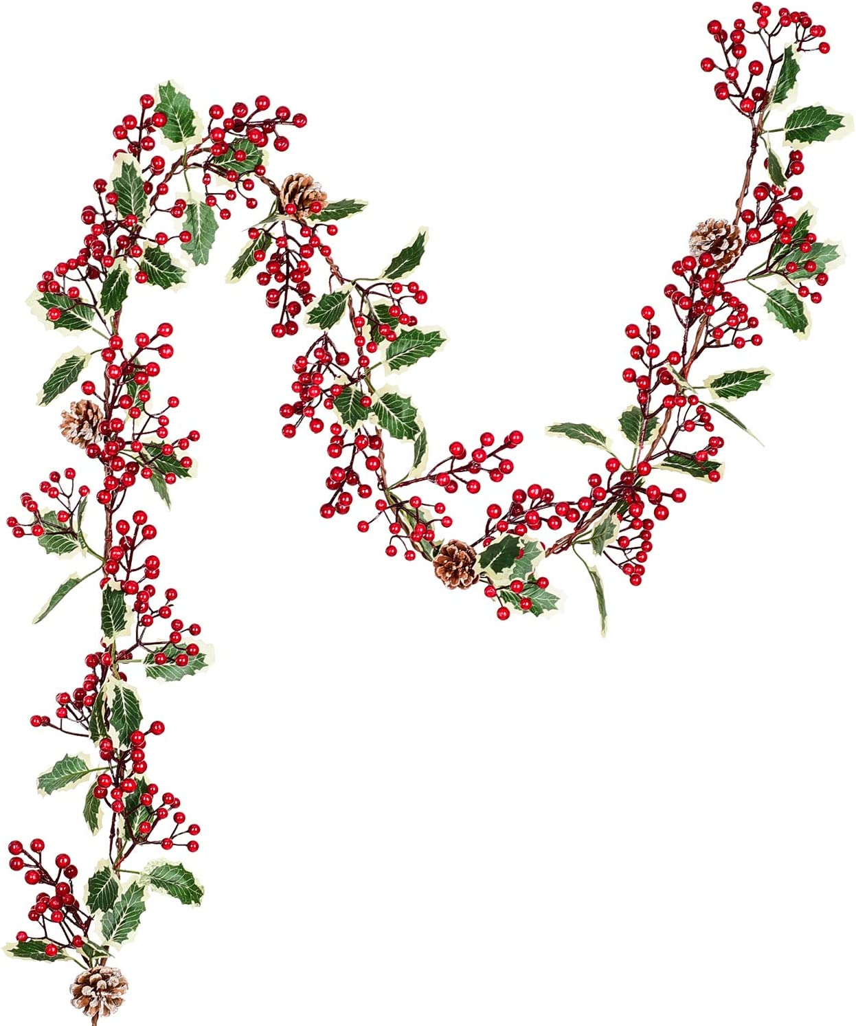 Amazon Com Lvydec Red Berry Garland Christmas Decoration 7ft Artificial Red Berry Garland With Pine Cone And Green Leaves For Holiday Fireplace Stairs Table Decorations Home Kitchen
