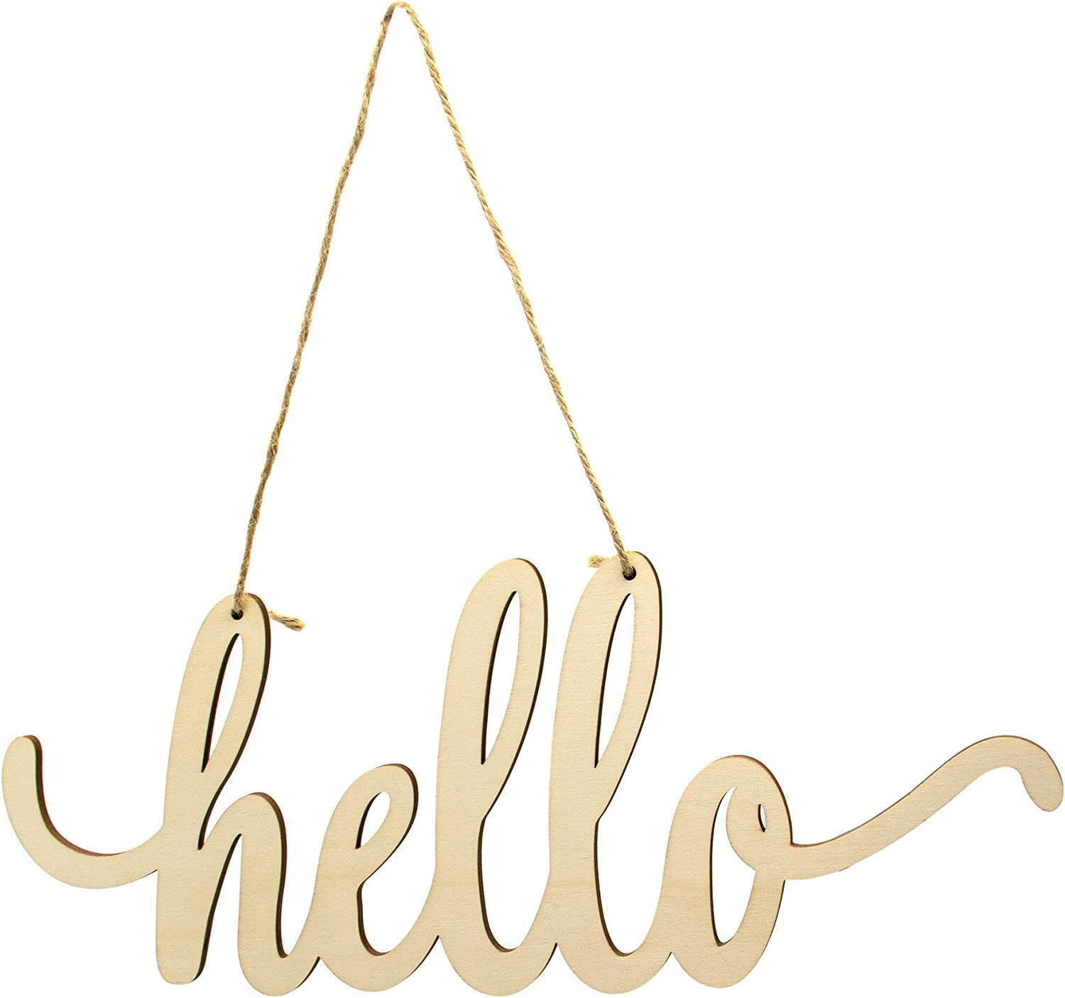 AUEAR, Hello Wooden Sign Cutout Hello Wooden Sign Cutout Hello Unfinished DIY Home Decor Door Wall Art Decoration