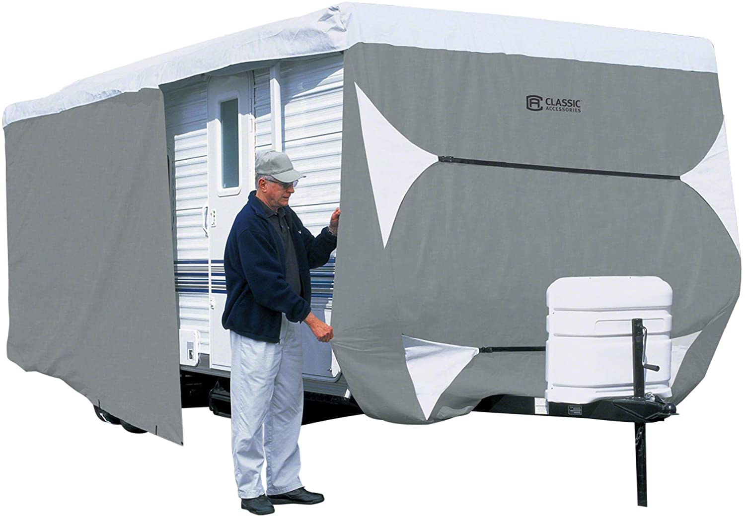 B0009HYQ54 Classic Accessories OverDrive PolyPro 3 Deluxe Travel Trailer Cover, Fits 20' - 22' 712UBJqWWVL