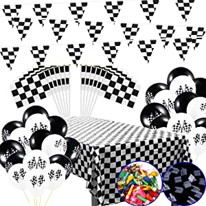 MX-Amigo 102 PC/Set Black White Checkered Racing Party Tablecover,Black&White Checkered Balloons Banner Flags Iclude 30PC Balloon Sealing Clip