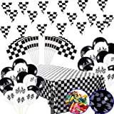 MX-Amigo 102 PC/Set Black White Checkered Racing Party Tablecover,Black&White Checkered Balloons Banner Flags Iclude…