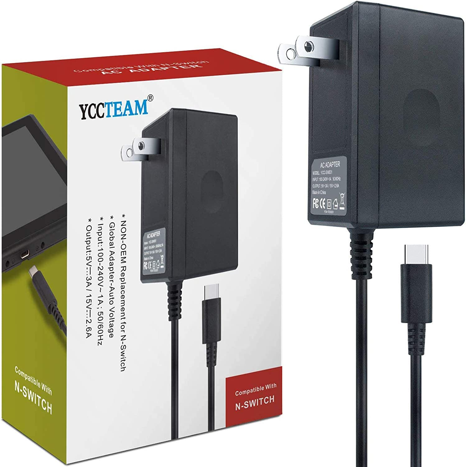 AC Adapter Charger for Nintendo Switch, YCCTEAM Switch Charger AC Adapter Power Supply 15V 2.6A Fast Charging Kit for Switch Dock/Switch Lite and Pro Controller (Support TV Mode),Black