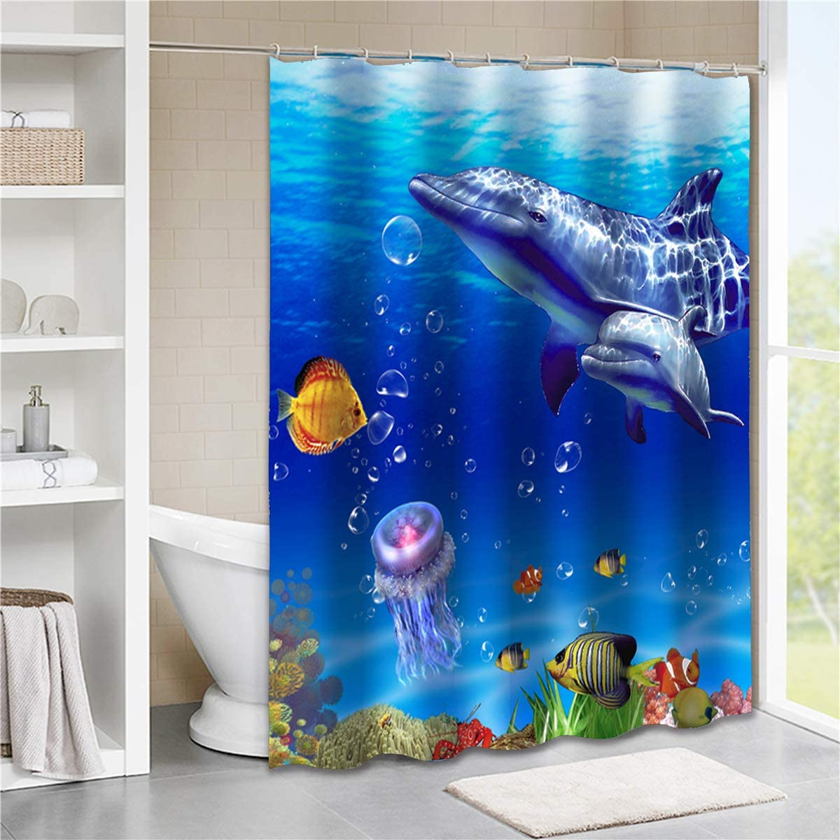 Tititex Tropical Ocean Fish Shower Curtain Sets Cute Sea Animal Dolphin Kids Waterproof Polyester Cloth Fabric 69 X70 With Hooks Home Kitchen
