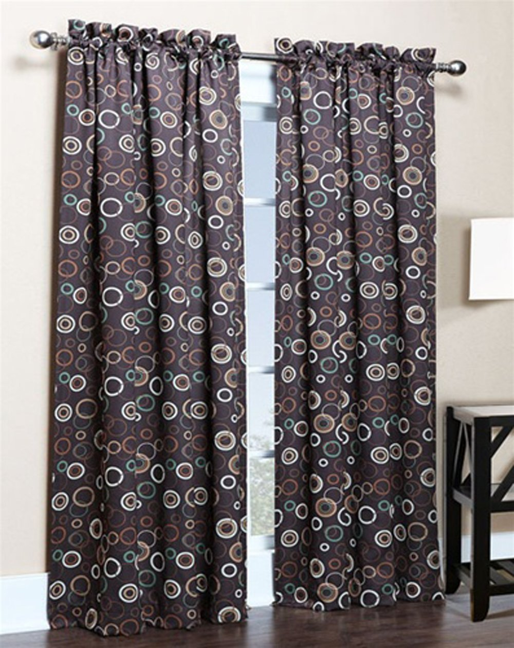 brown blackout curtains. Amazon.com: Solar Modern Print Blackout Curtain Panels - 54\ Brown Curtains