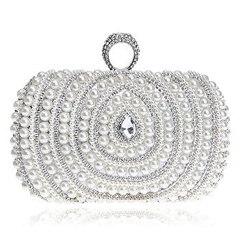 Sumferkyh Wristlet Hombro Bolsos de Noche de Embrague para Mujer con Cuentas llenas de Perlas Artificiales Rhinestone Bolso para Boda Cross-Body Bags (Color ...