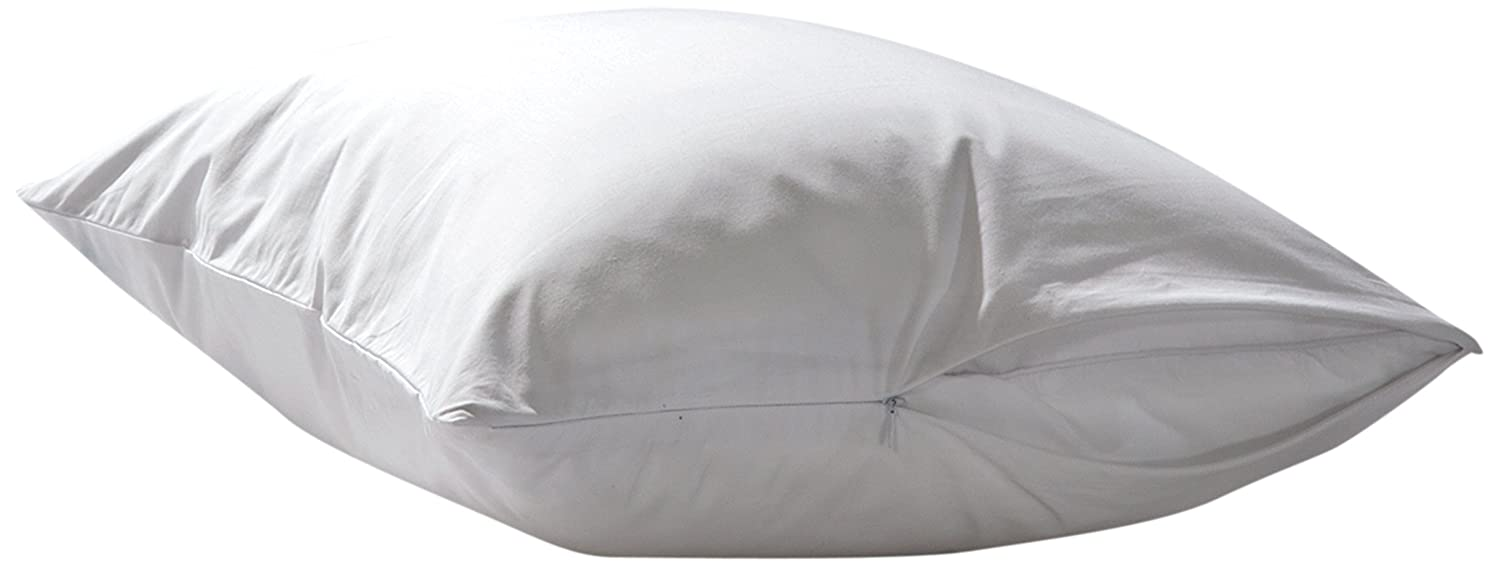 "Sealy Stain Protection Pillow Protector - Breathable Soft Cotton - Zippered Pillow Cover Extends Pillow Life – Stain Release Finish – Machine Washable, Standard/Queen 20""x28"", White (Set of 2)"