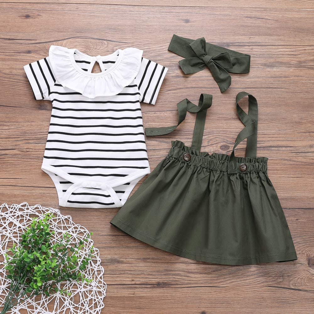 Toddler Girls Clothes Black White Stripes Ruffle Tops Jumpsuit Suspender Skirt Headband 3PCS Outfit Set