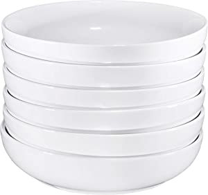 Bruntmor Ceramic Salad, Cereal And Pasta Bowls Set Of 6, Shallow Dinner Bowls That Are Oven, Microwave Oven And Dishwasher Safe, Chip And Scratch Resistant (White, 24 oz Each)